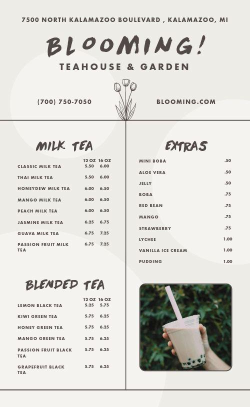 Customizable Tea Menu