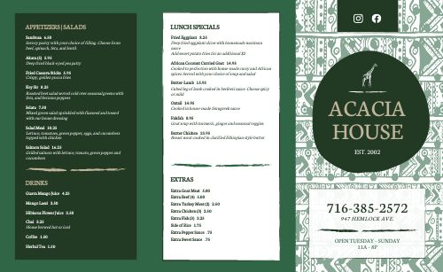 African Dining Takeout Menu