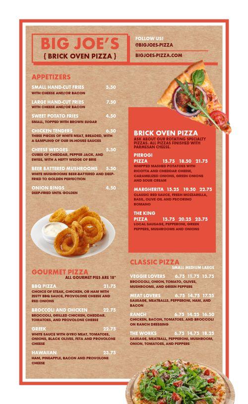 Brick Oven Pizza Menu Example