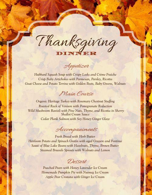 Thanksgiving Fall Menu