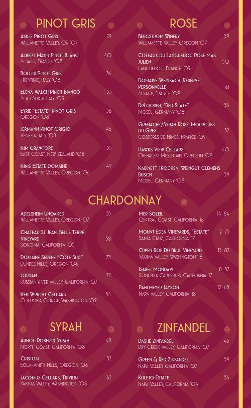 Maroon Wine List Menu