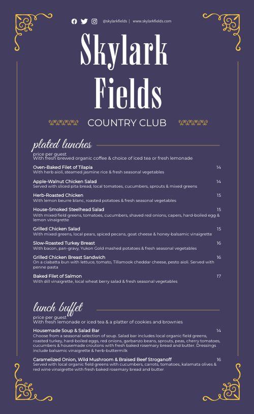 Elegant Country Club Catering Menu