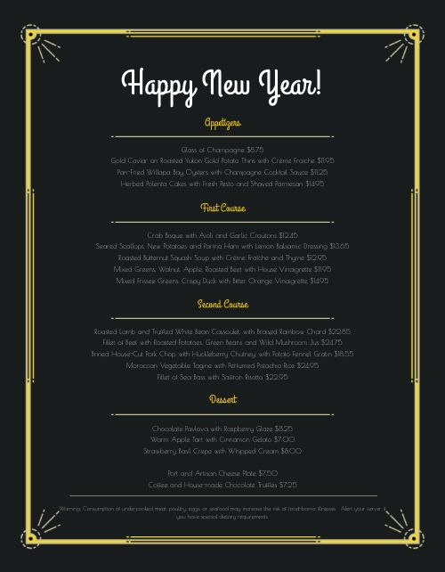 Happy New Year Menu