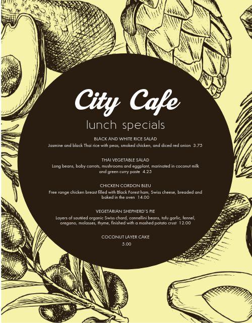 Cafe Specials Menu