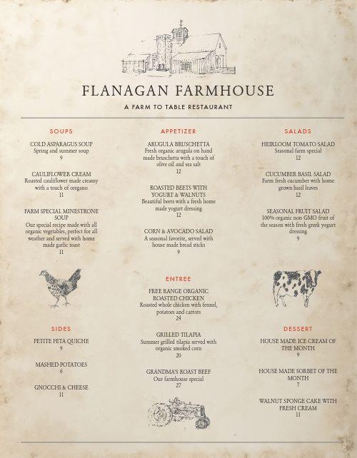 Farmhouse Fine Dining Menu