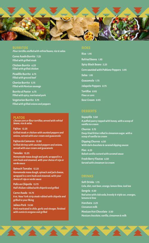Green Diner Mexican Menu