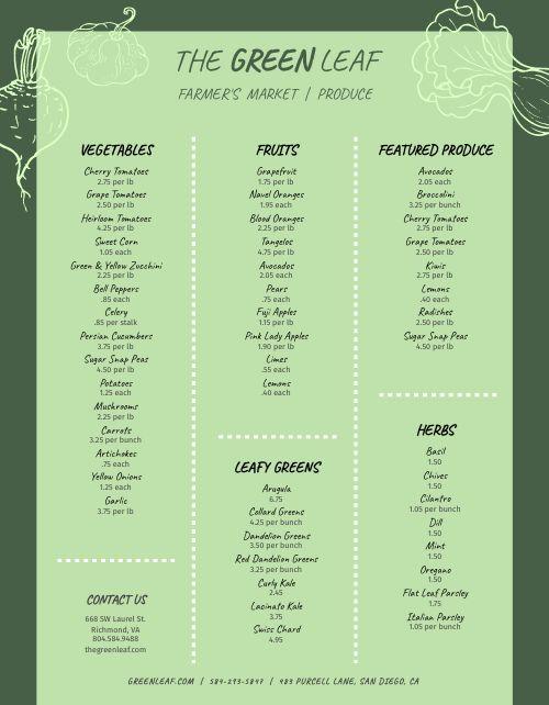 Green Farmers Market Menu