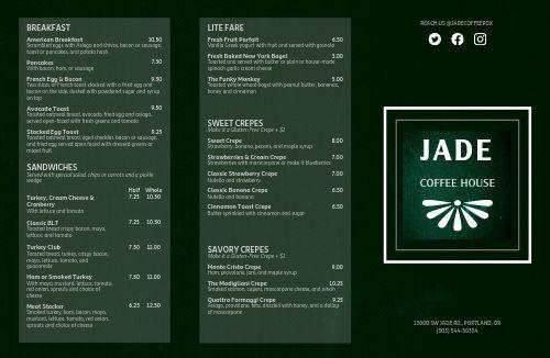 Jade Coffee Folded Menu