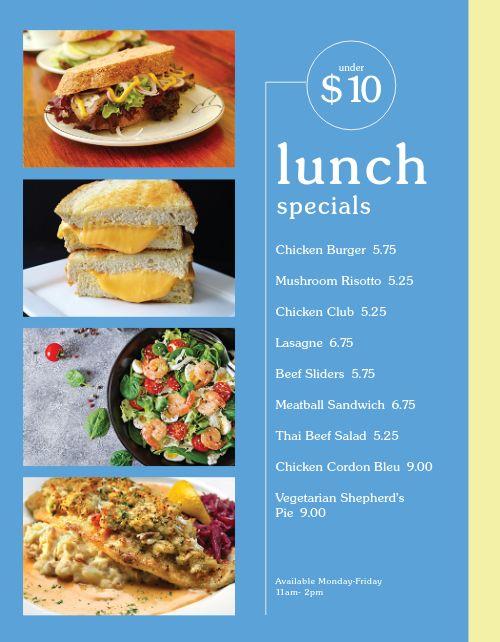 Cafe Lunch Specials Menu