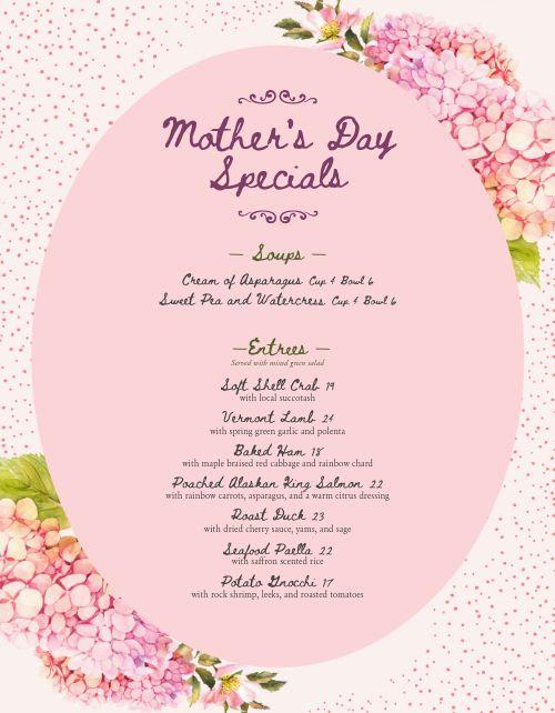 Pink Mothers Day Menu