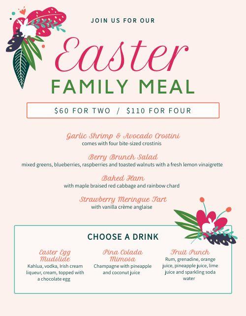 Easter Meal Menu