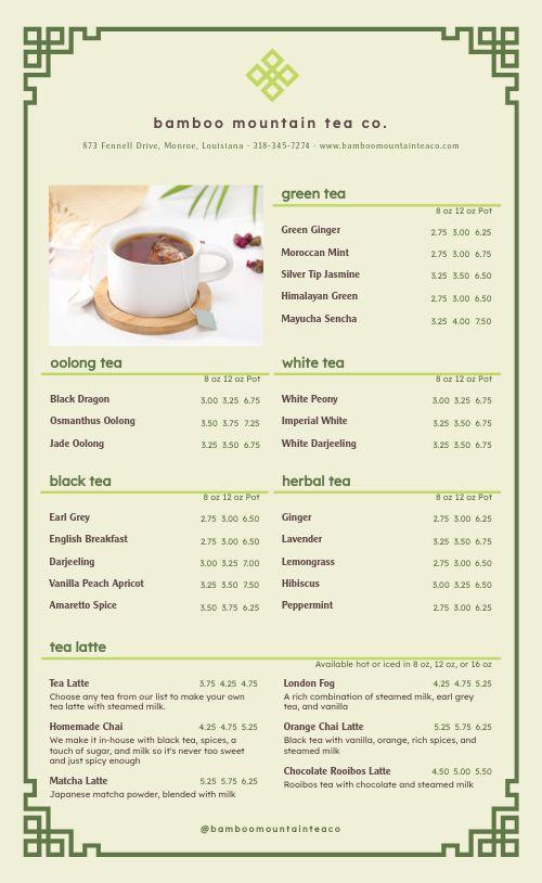 Tea Company Menu