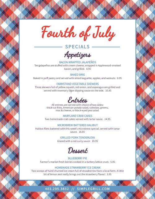 July Fourth Menu