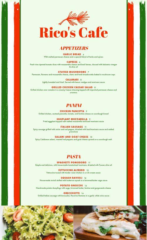 Italian Lunch Menu