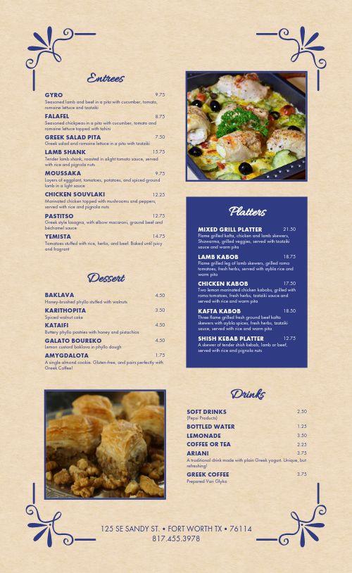 Mediterranean Cuisine Menu