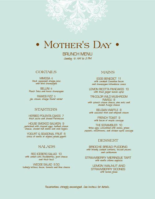 Upscale Mothers Day Menu