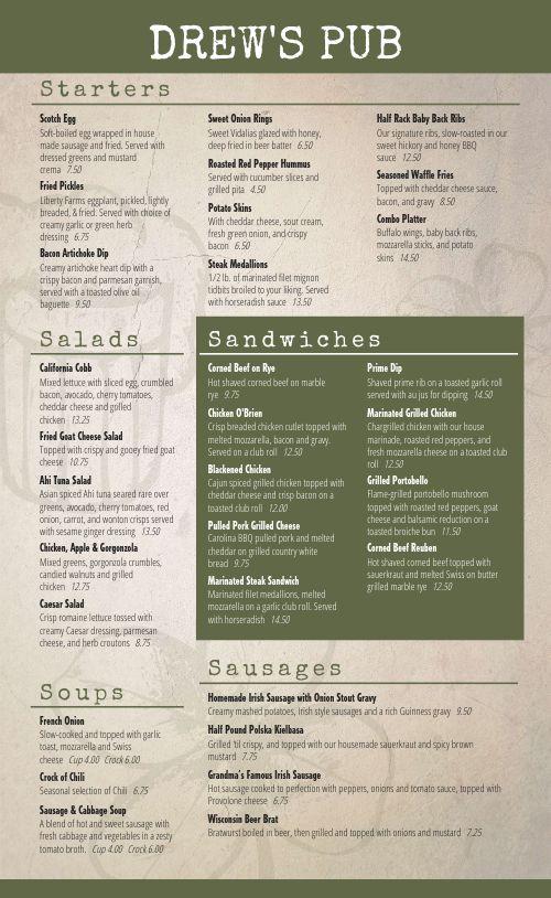 Irish Cuisine Menu