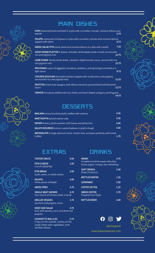 Greek Eatery Menu