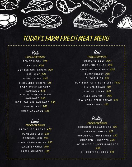 Meat Farmers Market Menu Poster