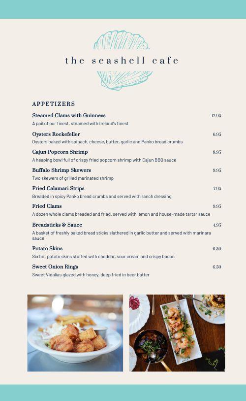 Cafe Seafood Menu