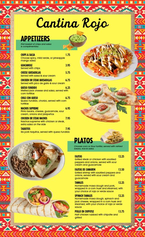 Colorful Mexican Restaurant Menu