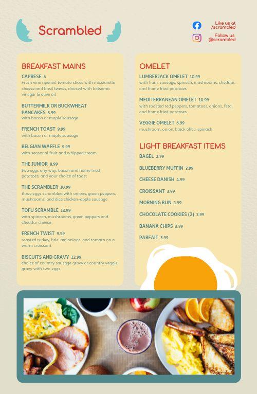 Eggs Diner Tabloid Menu