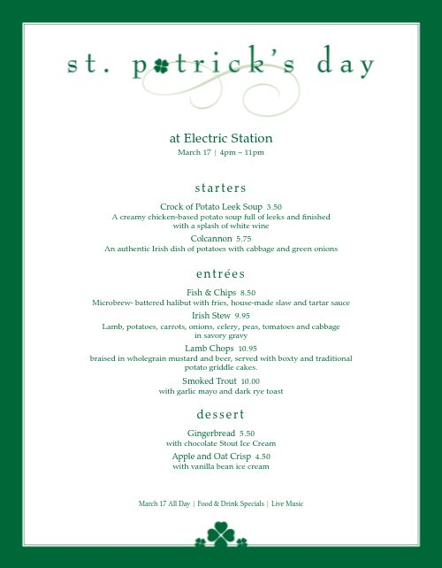 St Patrick Day Menu