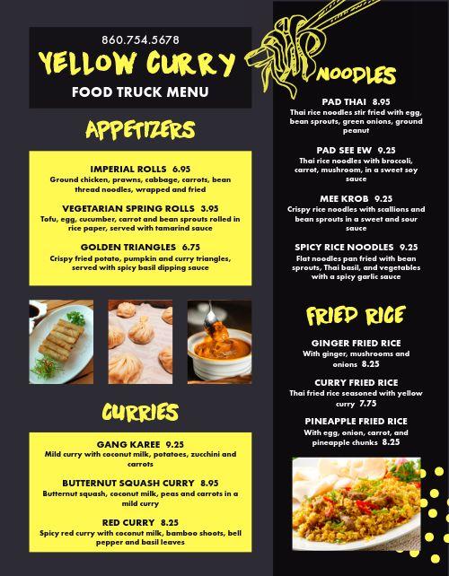 Thai Food Truck Menu