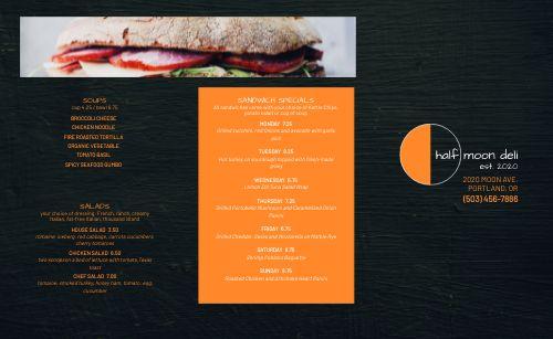 Deli Sandwich Takeout Menu