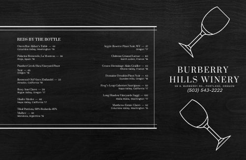 Alcohol Wine List Folded Menu