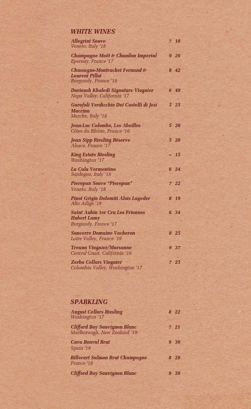 Pinot Noir Wine List Menu