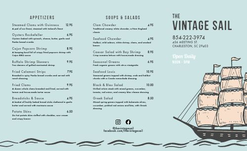 Vintage Seafood Takeout Menu