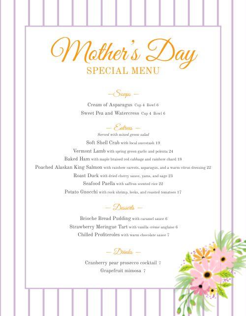 Customizable Mothers Day Menu