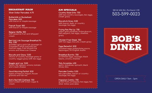 Red Diner Takeout Menu