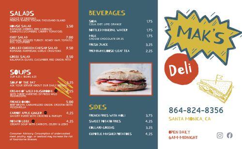 Colorful Sandwich Deli Takeout Menu