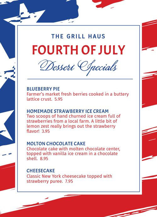 Fourth of July Counter Card