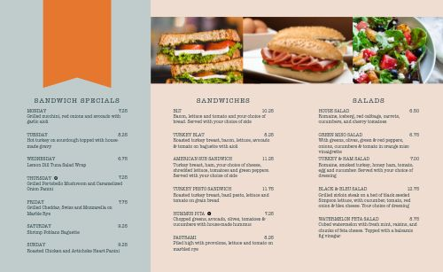 Upscale Diner Takeout Menu