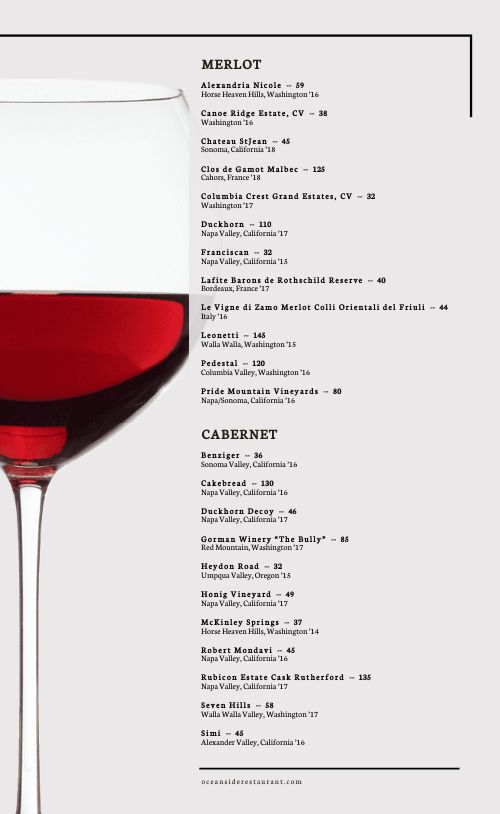 Wine List Menu Idea