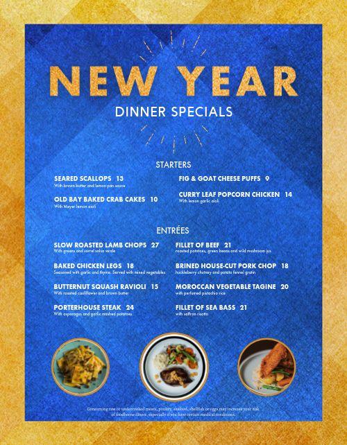 New Years Dinner Specials Menu