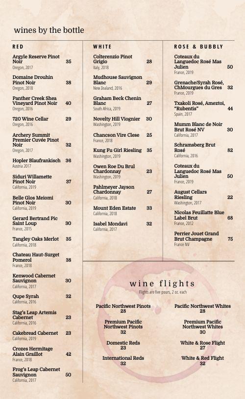 Desert Wine List Menu
