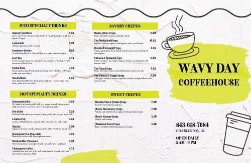 Coffee Cup Folded Menu