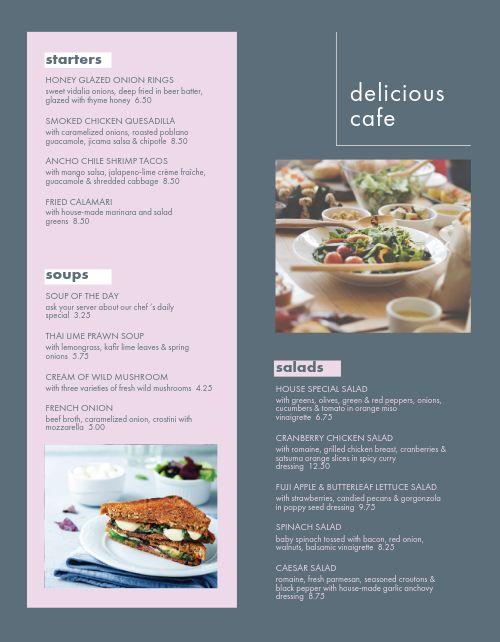 Delicious Cafe Menu