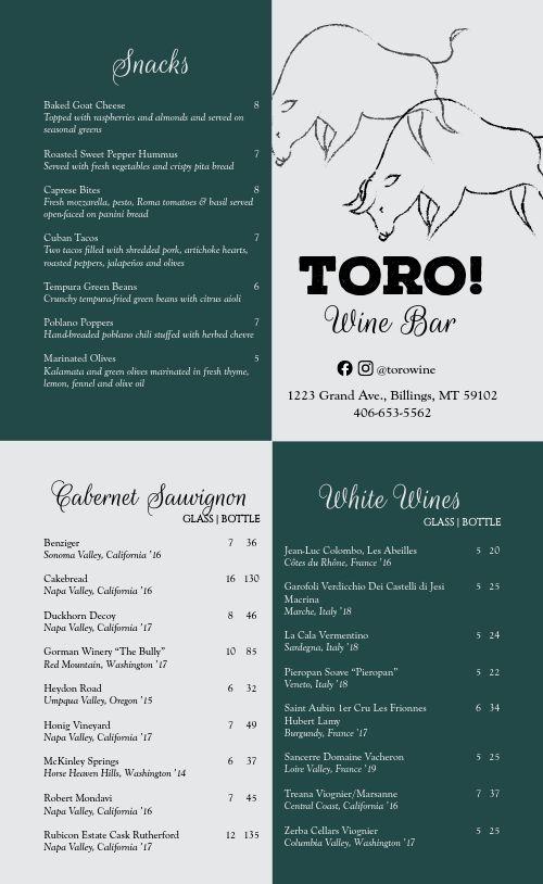 Spanish Wine Bar Menu
