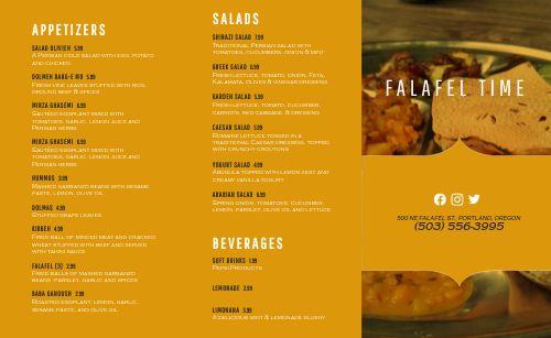 Falafel Middle Eastern Takeout Menu