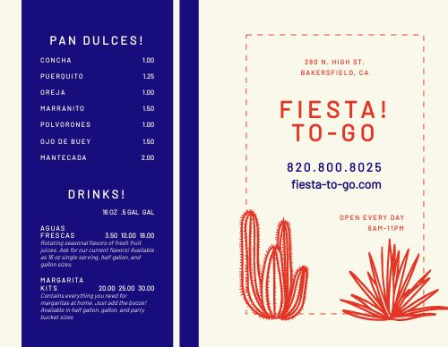 Mexican Catering Bifold Takeout Menu