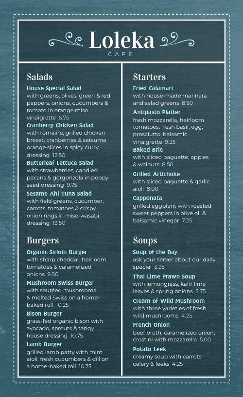 Blue Cafe Menu