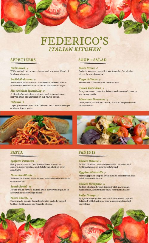 Italian Family Restaurant Menu