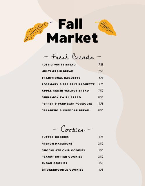 Fall Market Menu