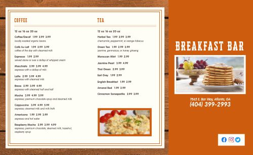 Breakfast Bar Takeout Menu