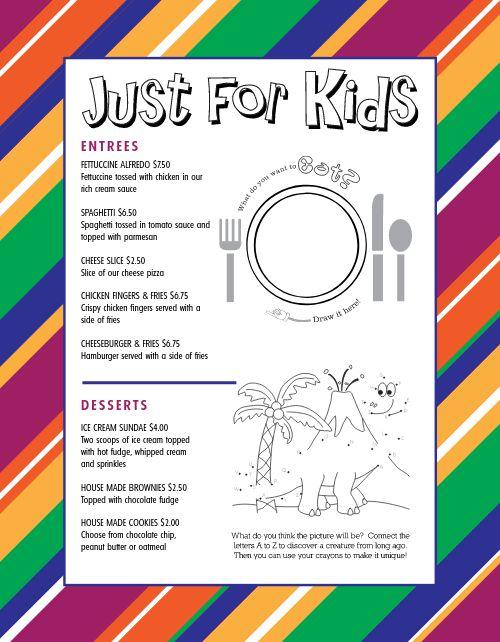 Rainbow Kids Menu